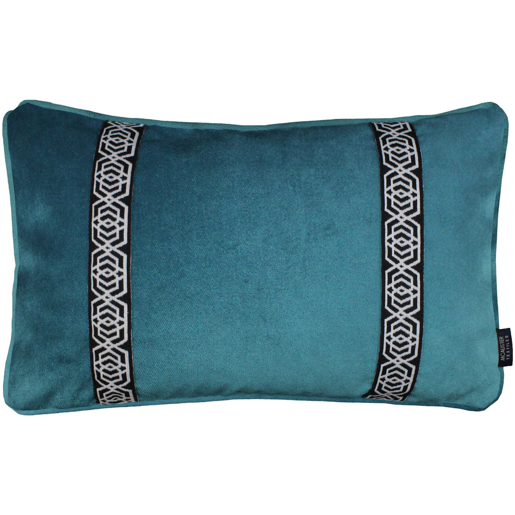 McAlister Textiles Coba Striped Blue Teal Velvet Cushion Cushions and Covers Cover Only 50cm x 30cm