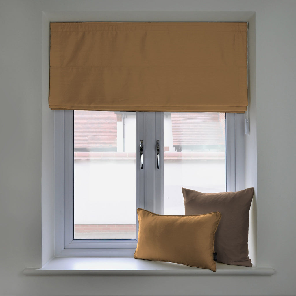McAlister Textiles Rocco Faux Silk Gold Blinds Roman Blinds Standard Lining 130cm x 200cm