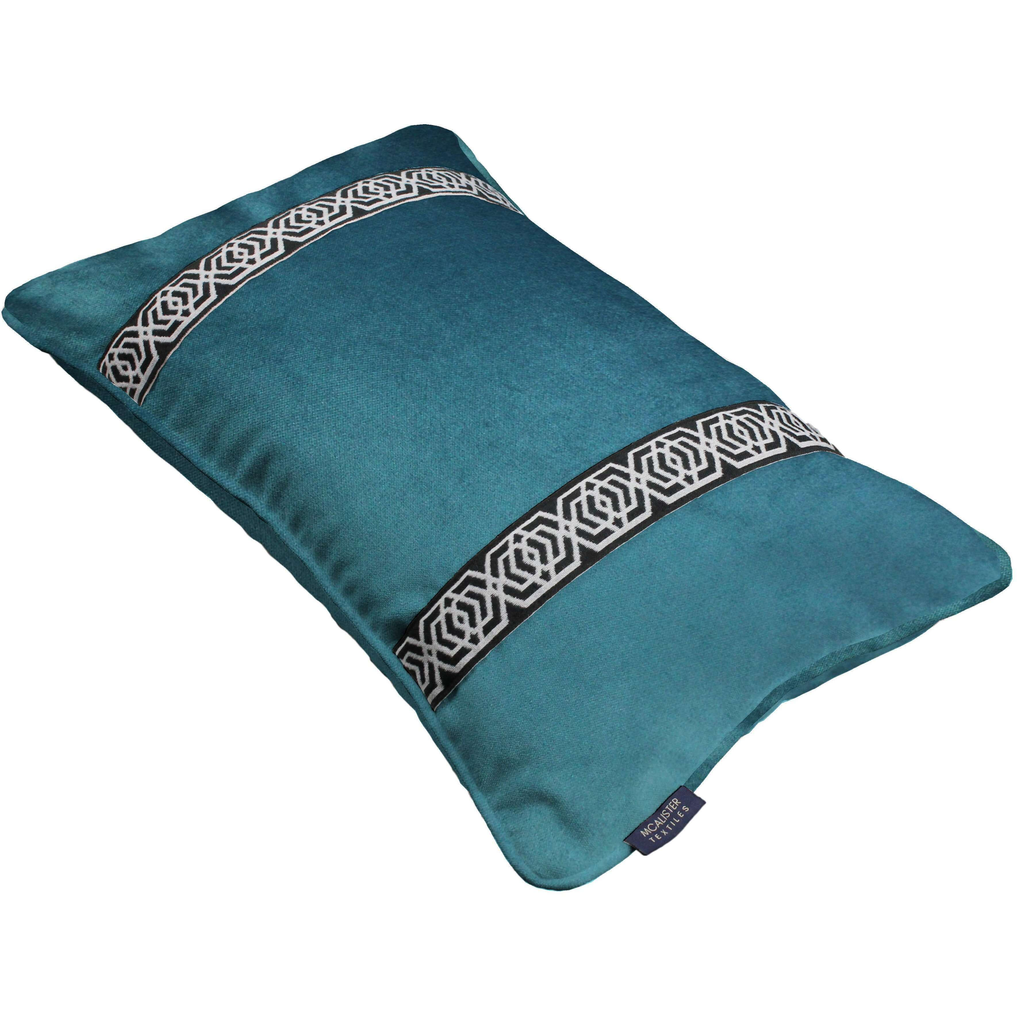McAlister Textiles Coba Striped Blue Teal Velvet Cushion Cushions and Covers