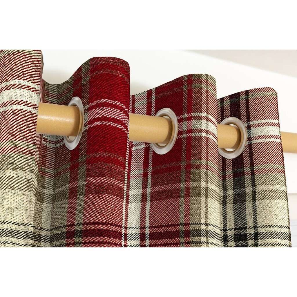 McAlister Textiles Angus Red + White Tartan Curtains Tailored Curtains