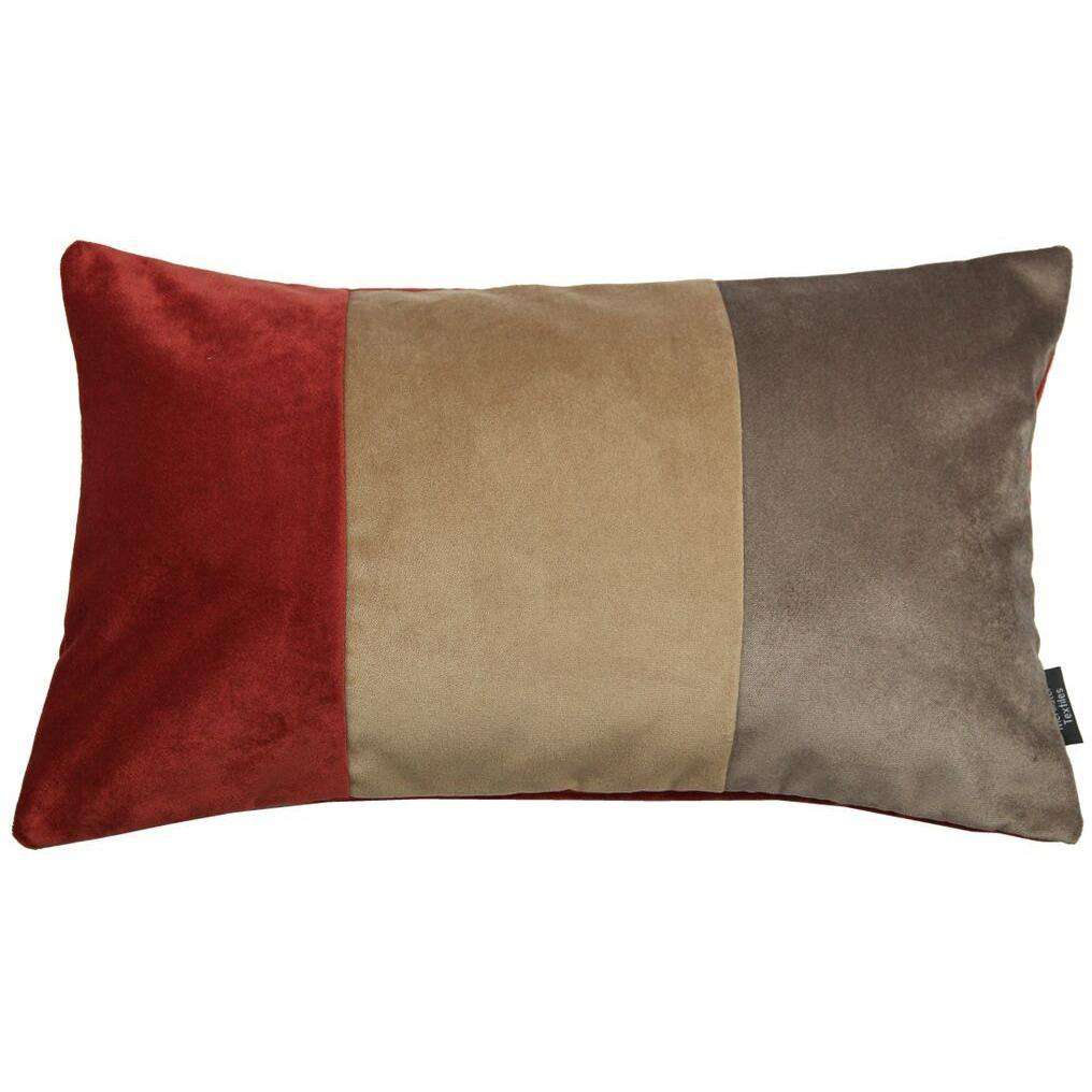 McAlister Textiles 3 Colour Patchwork Velvet Brown, Caramel + Red Pillow Cushions and Covers