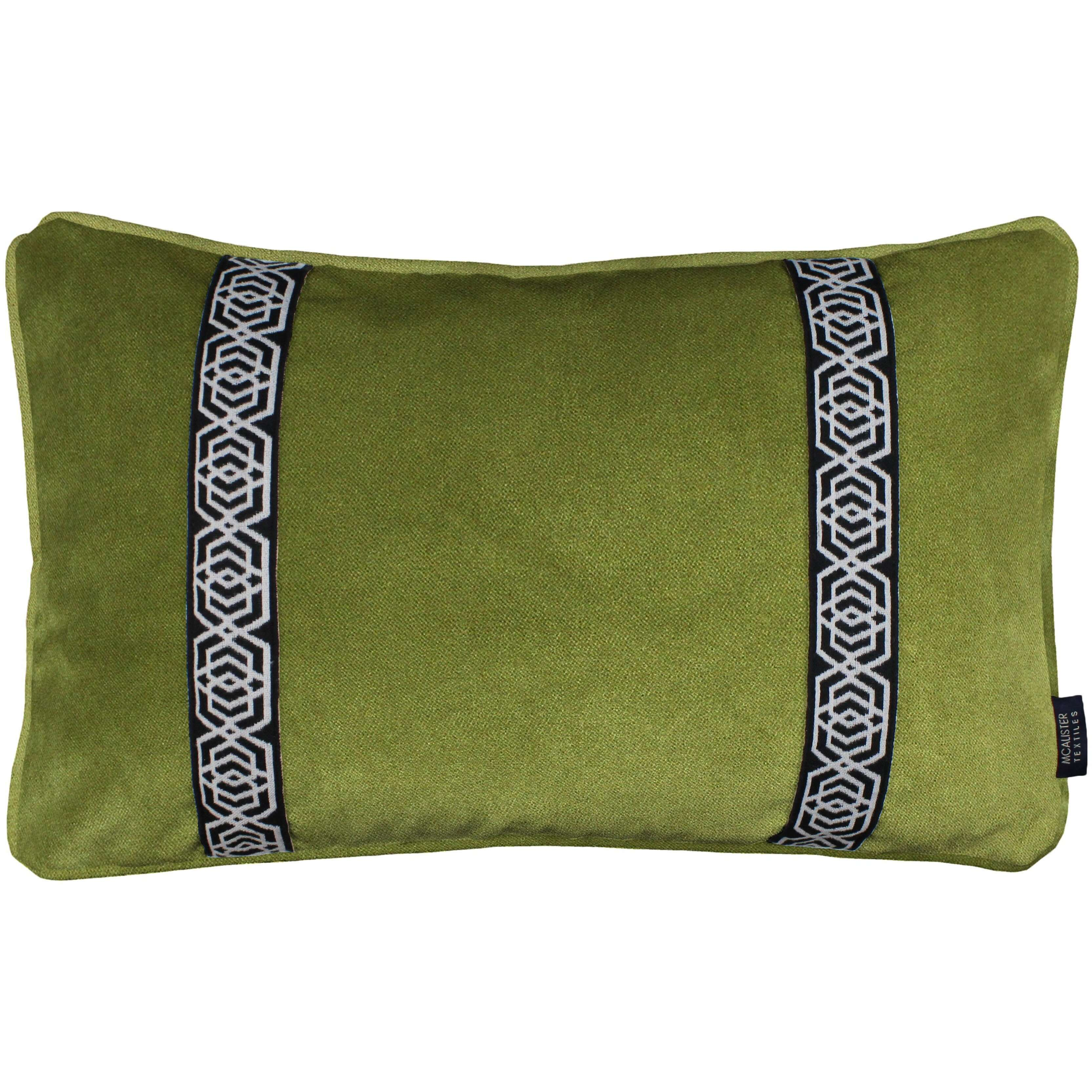 McAlister Textiles Coba Striped Lime Green Velvet Pillow Pillow Cover Only 50cm x 30cm