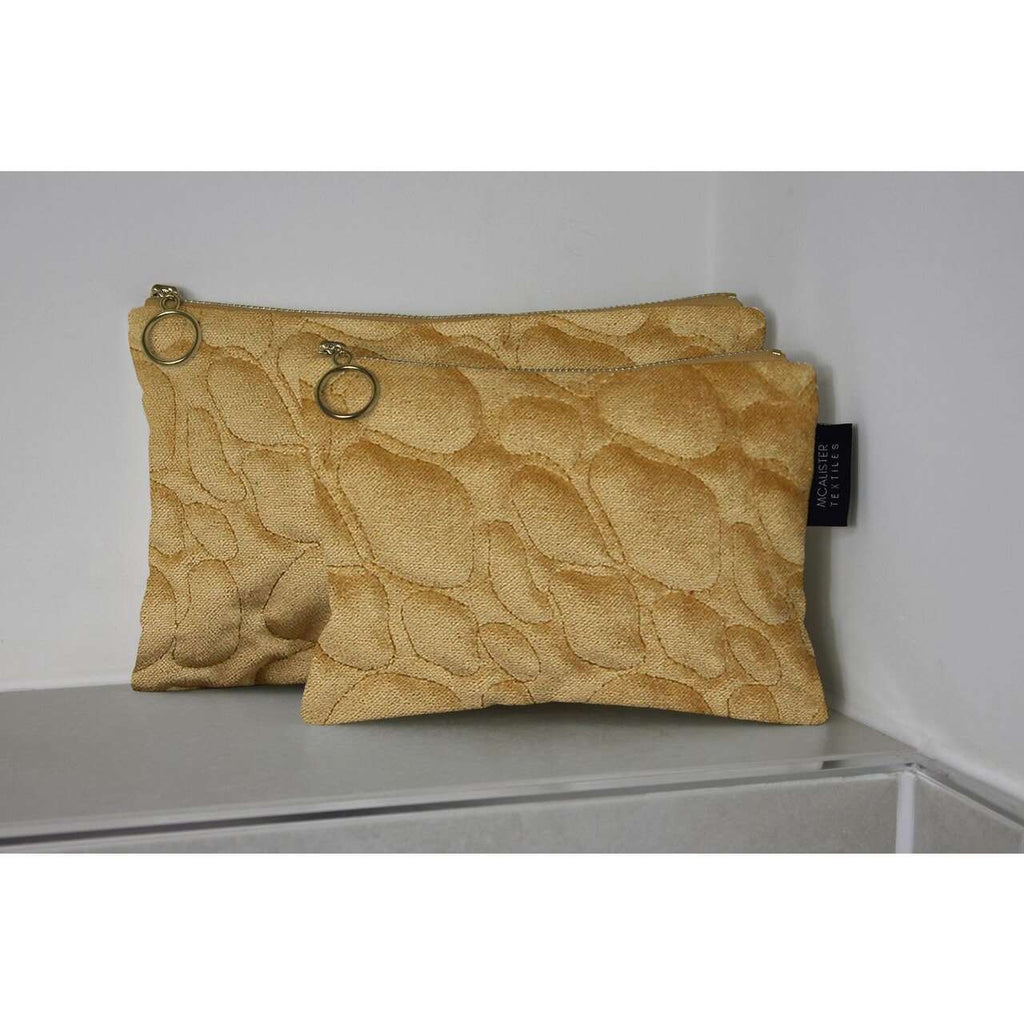 McAlister Textiles Pebble Pattern Yellow Velvet Makeup Bag Set Clutch Bag