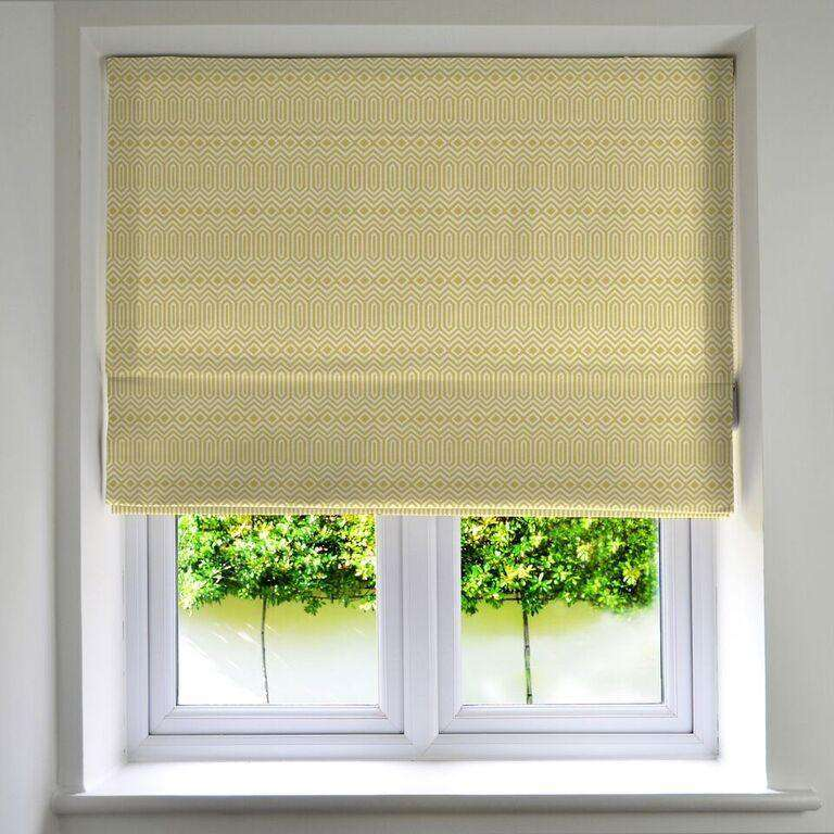 McAlister Textiles Colorado Geometric Roman Blind - Ochre Yellow-Roman Blinds-