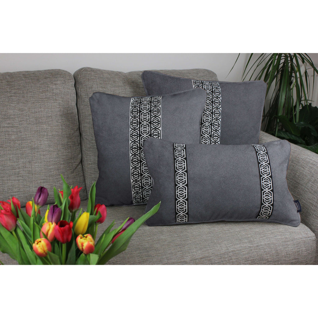 McAlister Textiles Coba Striped Charcoal Grey Velvet Cushion Cushions and Covers