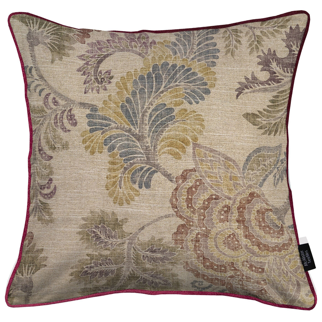 McAlister Textiles Floris Vintage Floral Linen Cushion Cushions and Covers Cover Only 43cm x 43cm