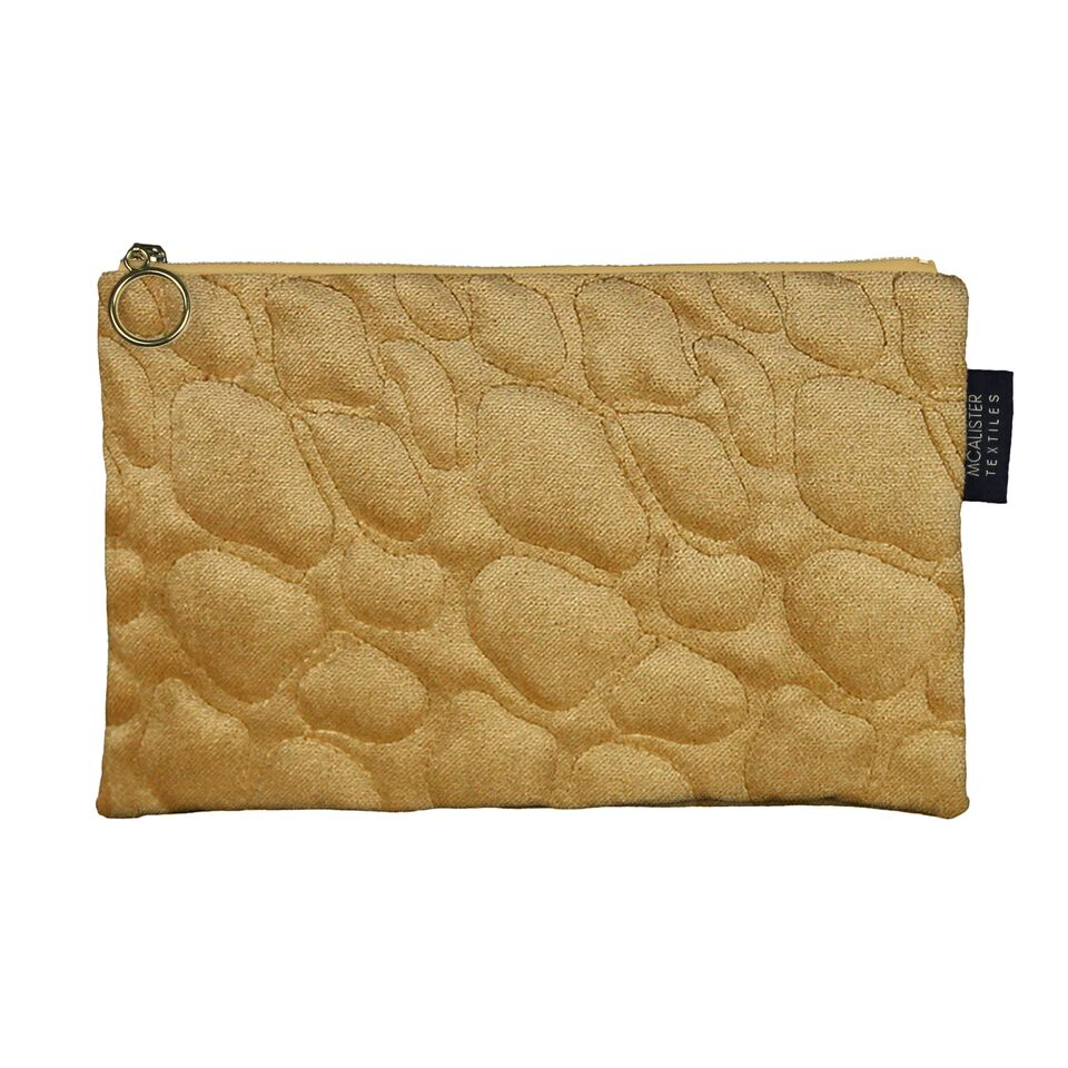 McAlister Textiles Pebble Pattern Yellow Velvet Makeup Bag - Large Clutch Bag