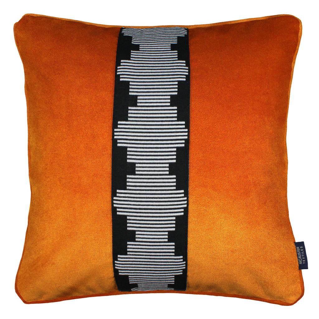 McAlister Textiles Maya Striped Burnt Orange Velvet Cushion Cushions and Covers Polyester Filler 43cm x 43cm