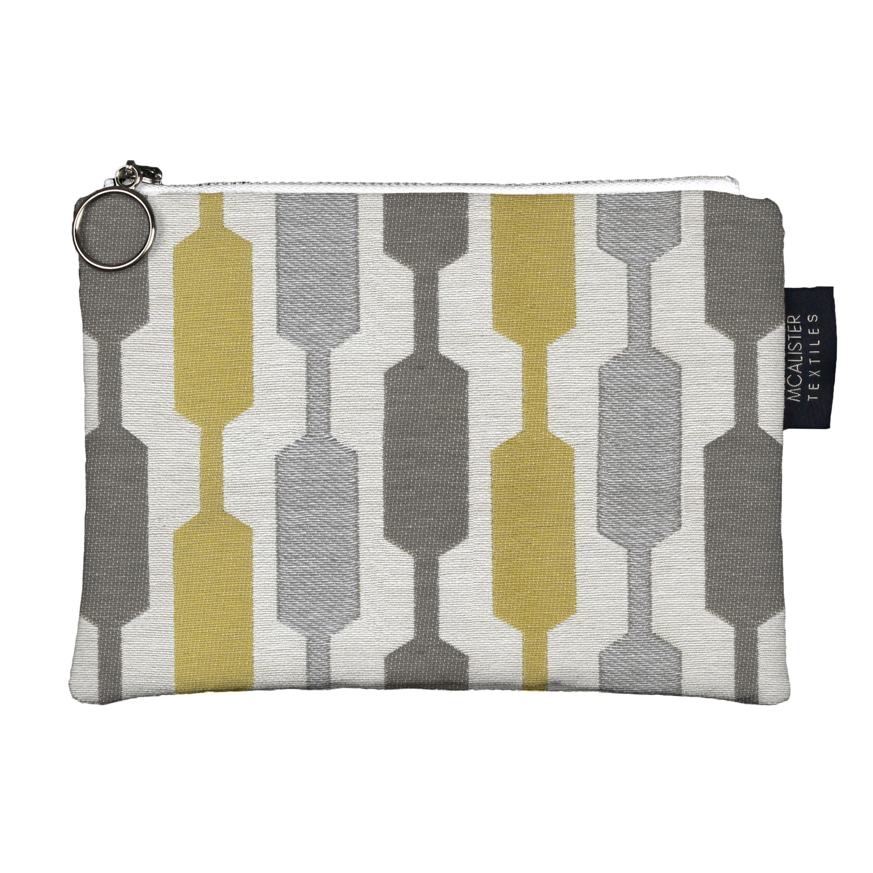 McAlister Textiles Lotta Yellow + Grey Makeup Bag Clutch Bag