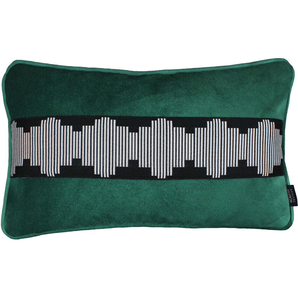 McAlister Textiles Maya Striped Emerald Green Velvet Pillow Pillow Cover Only 50cm x 30cm