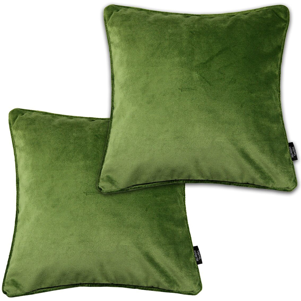 McAlister Textiles Matt Fern Green Velvet 43cm x 43cm Cushion Sets Cushions and Covers Cushion Covers Set of 2