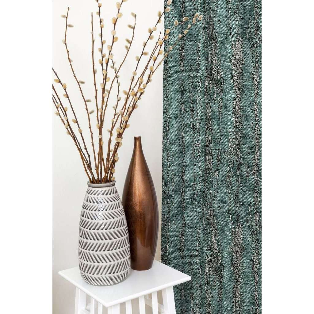 McAlister Textiles Textured Chenille Teal Curtains Tailored Curtains