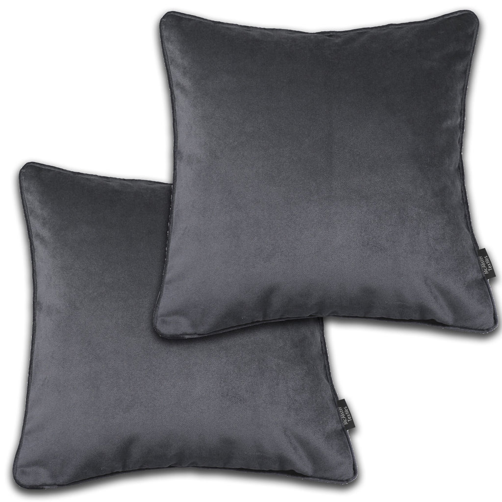McAlister Textiles Matt Charcoal Grey Velvet 43cm x 43cm Cushion Sets Cushions and Covers Cushion Covers Set of 2