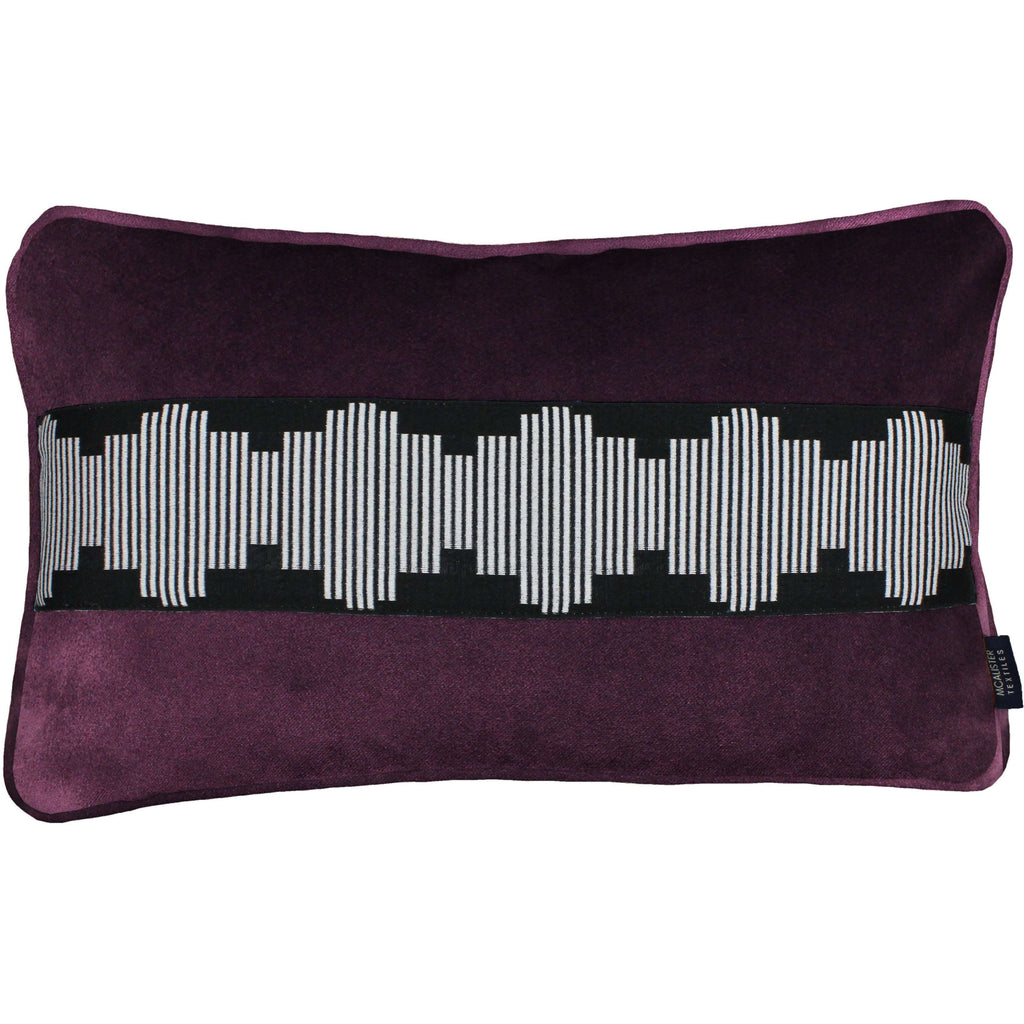 McAlister Textiles Maya Striped Aubergine Purple Velvet Pillow Pillow Cover Only 50cm x 30cm