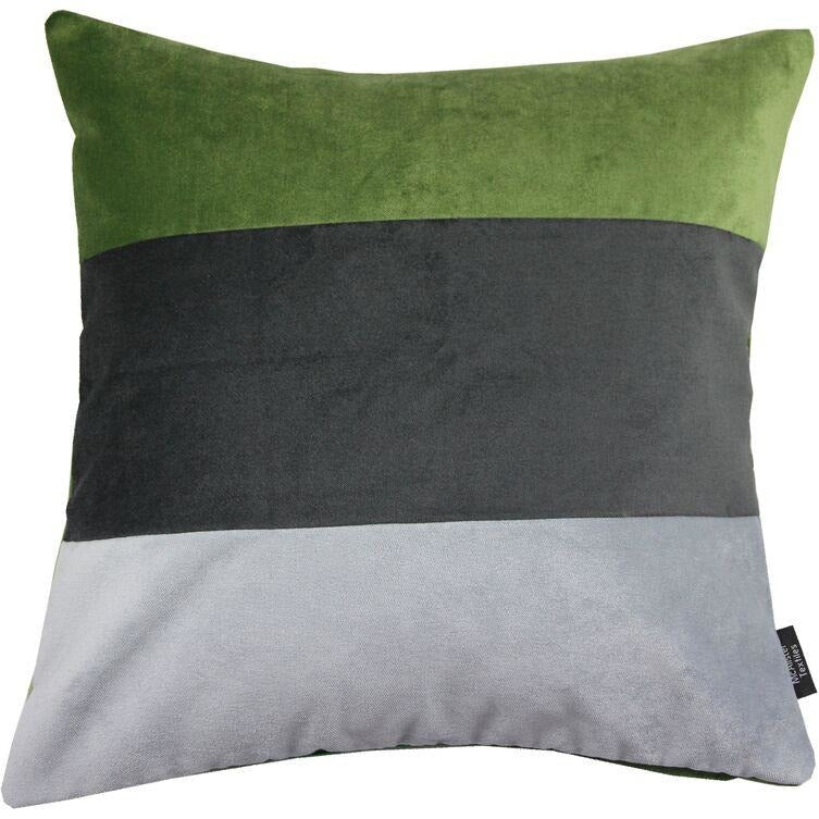 McAlister Textiles Straight Patchwork Velvet Green, Silver + Grey Cushion Cushions and Covers Cover Only 43cm x 43cm