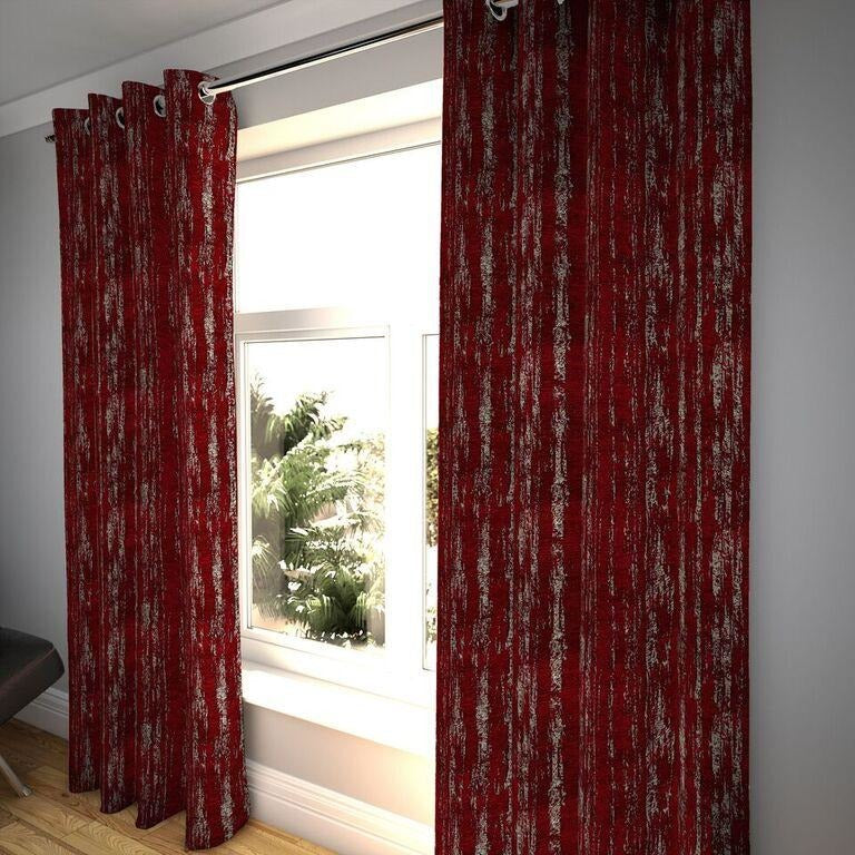 "McAlister Textiles Textured Chenille Wine Red Curtains Tailored Curtains 116cm(w) x 182cm(d) (46"" x 72"")"