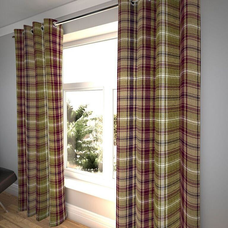 "McAlister Textiles Angus Purple + Green Tartan Curtains Tailored Curtains 116cm(w) x 182cm(d) (46"" x 72"")"
