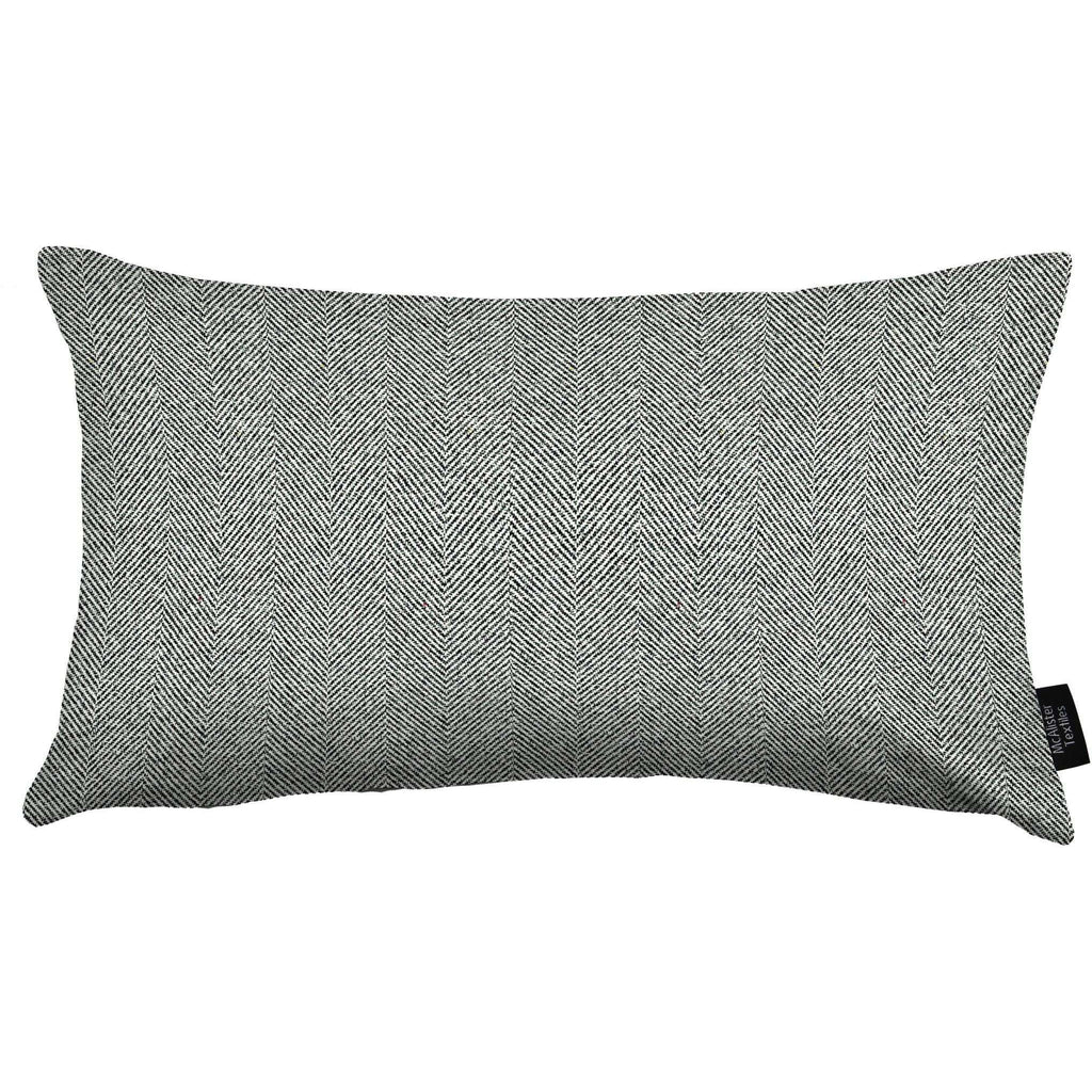McAlister Textiles Herringbone Charcoal Grey Cushion Cushions and Covers Cover Only 50cm x 30cm