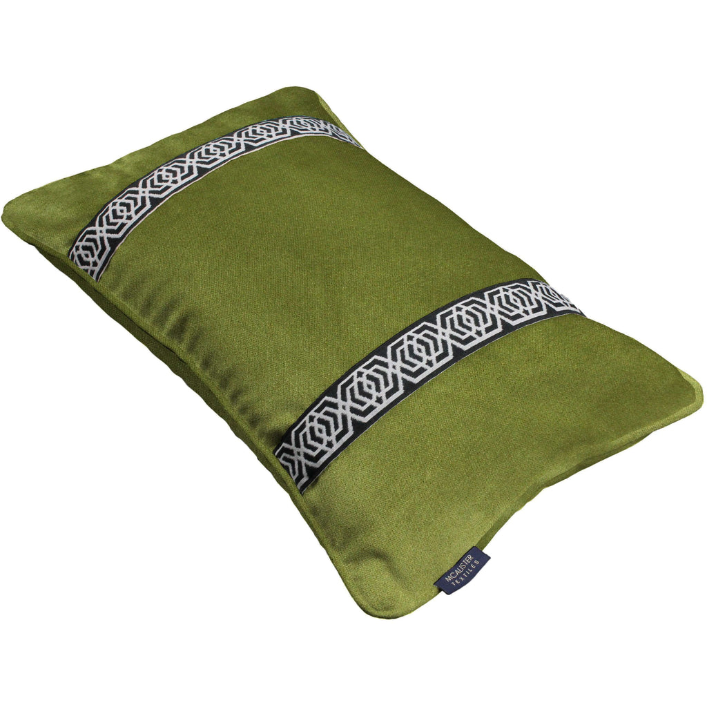 McAlister Textiles Coba Striped Lime Green Velvet Cushion Cushions and Covers