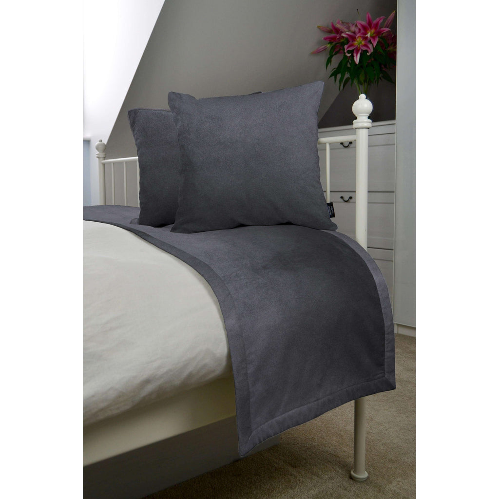 McAlister Textiles Matt Charcoal Grey Velvet Bedding Set Bedding Set Runner (50x240cm) + 2x Cushion Covers