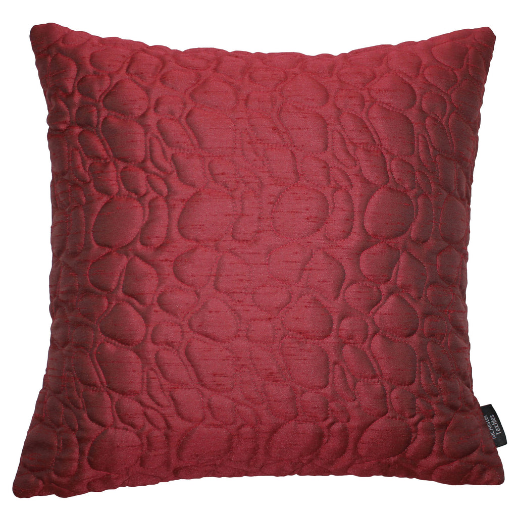 McAlister Textiles Rocco Pebble Quilted Wine Red Silk Cushion Cushions and Covers Cover Only 43cm x 43cm