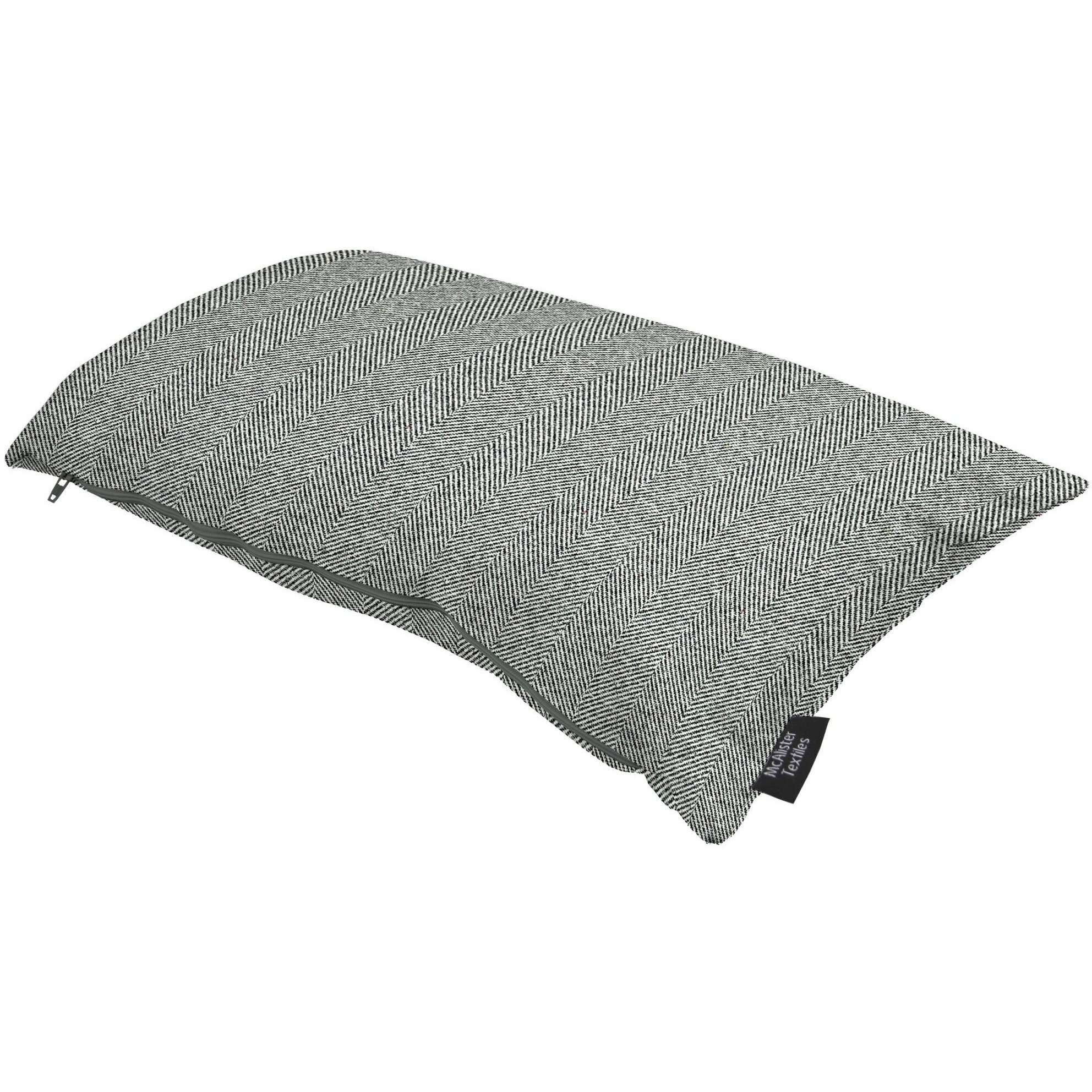 McAlister Textiles Herringbone Charcoal Grey Cushion Cushions and Covers