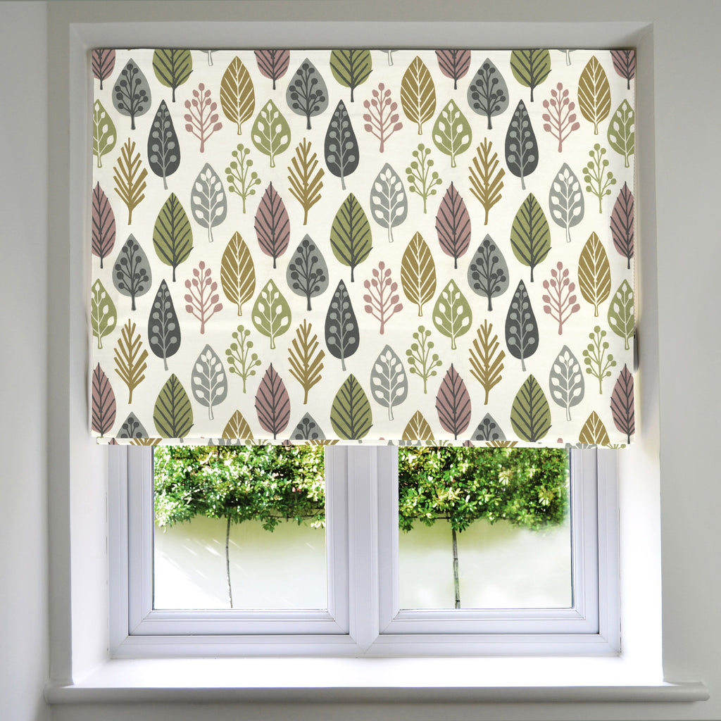 McAlister Textiles Magda Cotton Print Blush Pink Roman Blind Roman Blinds Standard Lining 130cm x 200cm