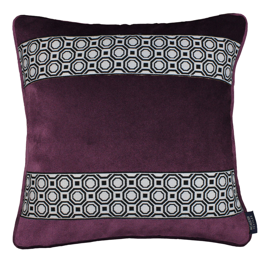 McAlister Textiles Cancun Striped Aubergine Purple Velvet Cushion Cushions and Covers Polyester Filler 43cm x 43cm
