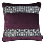 Carica l'immagine nel visualizzatore di Gallery, McAlister Textiles Cancun Striped Aubergine Purple Velvet Cushion Cushions and Covers Polyester Filler 43cm x 43cm