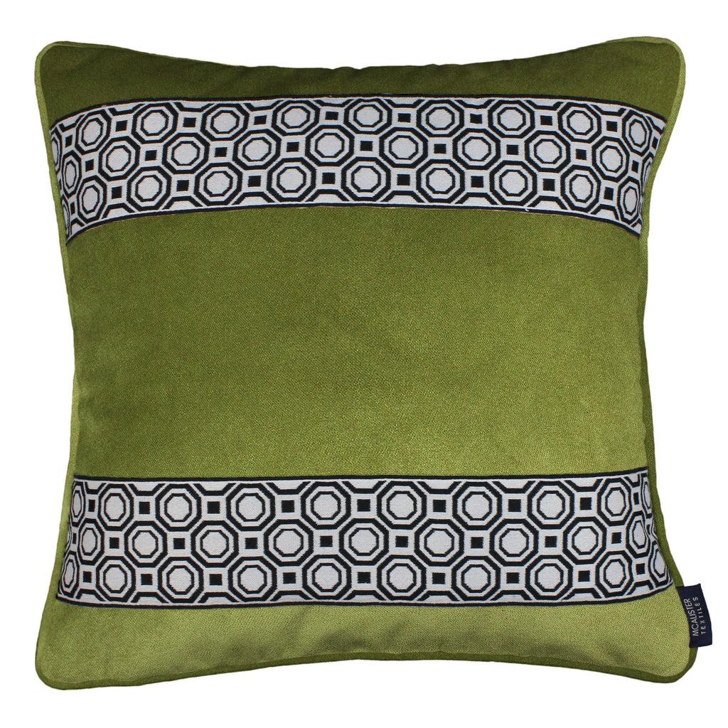 McAlister Textiles Cancun Striped Lime Green Velvet Cushion Cushions and Covers Polyester Filler 43cm x 43cm