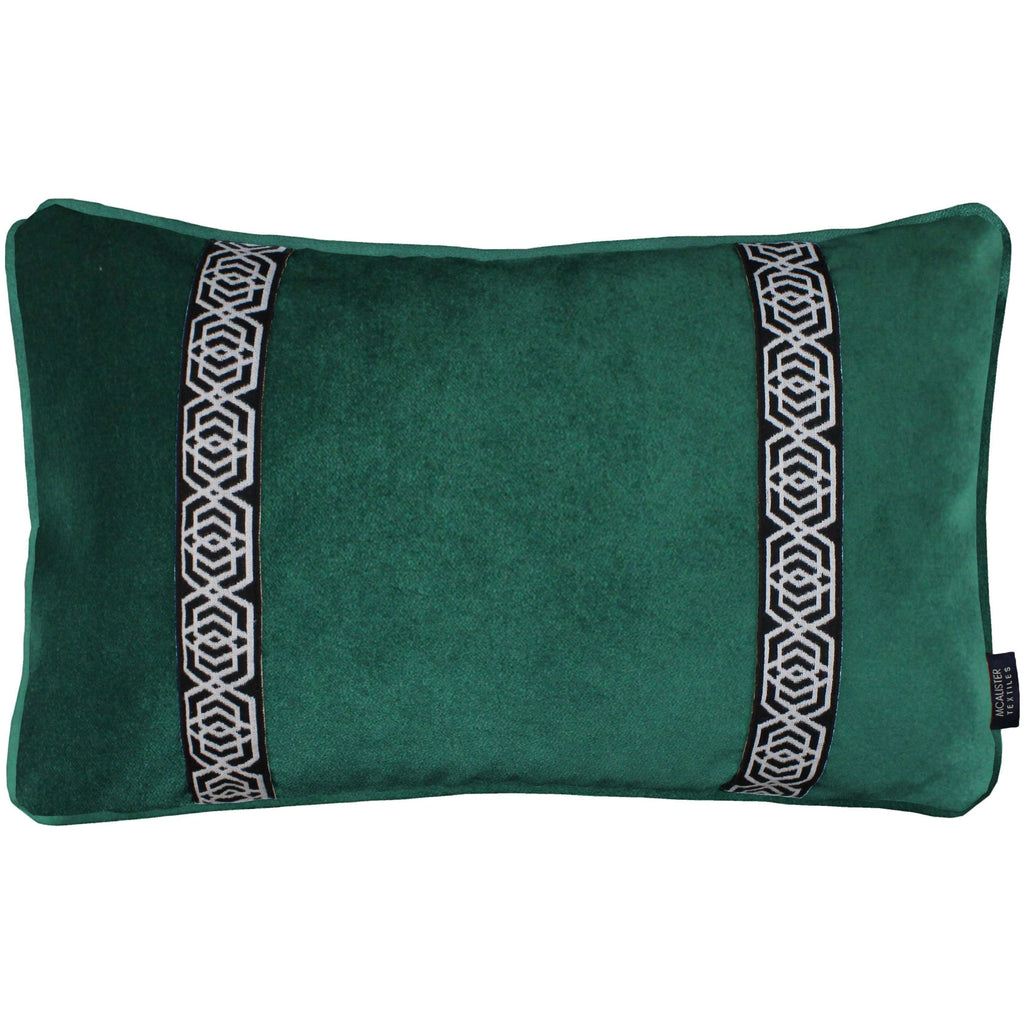 McAlister Textiles Coba Striped Emerald Green Velvet Pillow Pillow Cover Only 50cm x 30cm