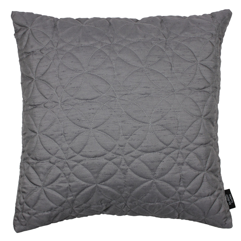 McAlister Textiles Rocco Round Quilted Charcoal Grey Silk Cushion Cushions and Covers Cover Only 43cm x 43cm