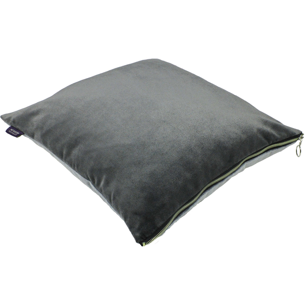 McAlister Textiles Decorative Zipper Edge Silver + Grey Velvet Cushion Cushions and Covers Cover Only 43cm x 43cm