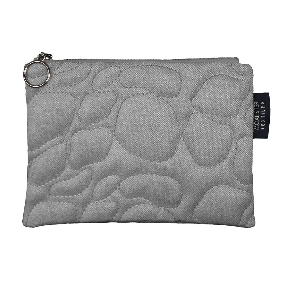 McAlister Textiles Pebble Pattern Silver Velvet Makeup Bag Clutch Bag