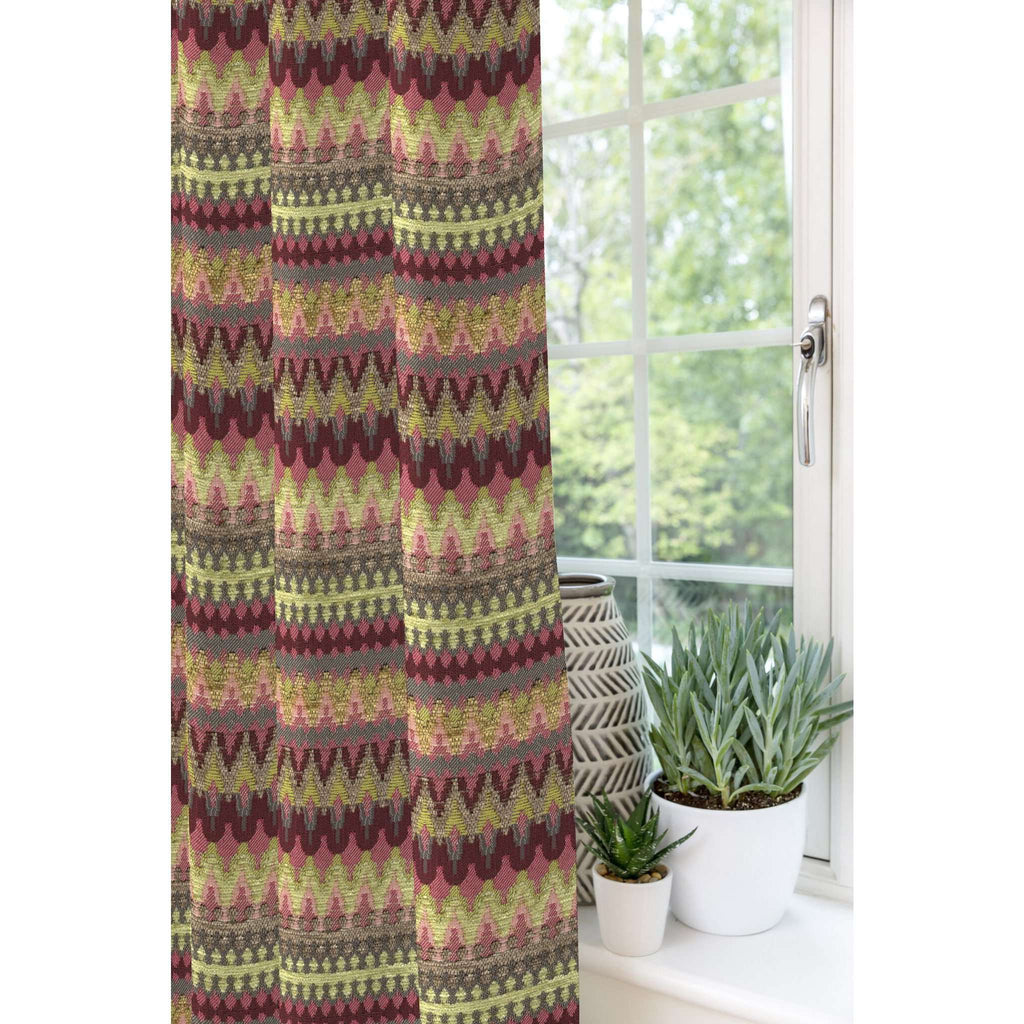 McAlister Textiles Curitiba Aztec Pink + Grey Curtains Tailored Curtains