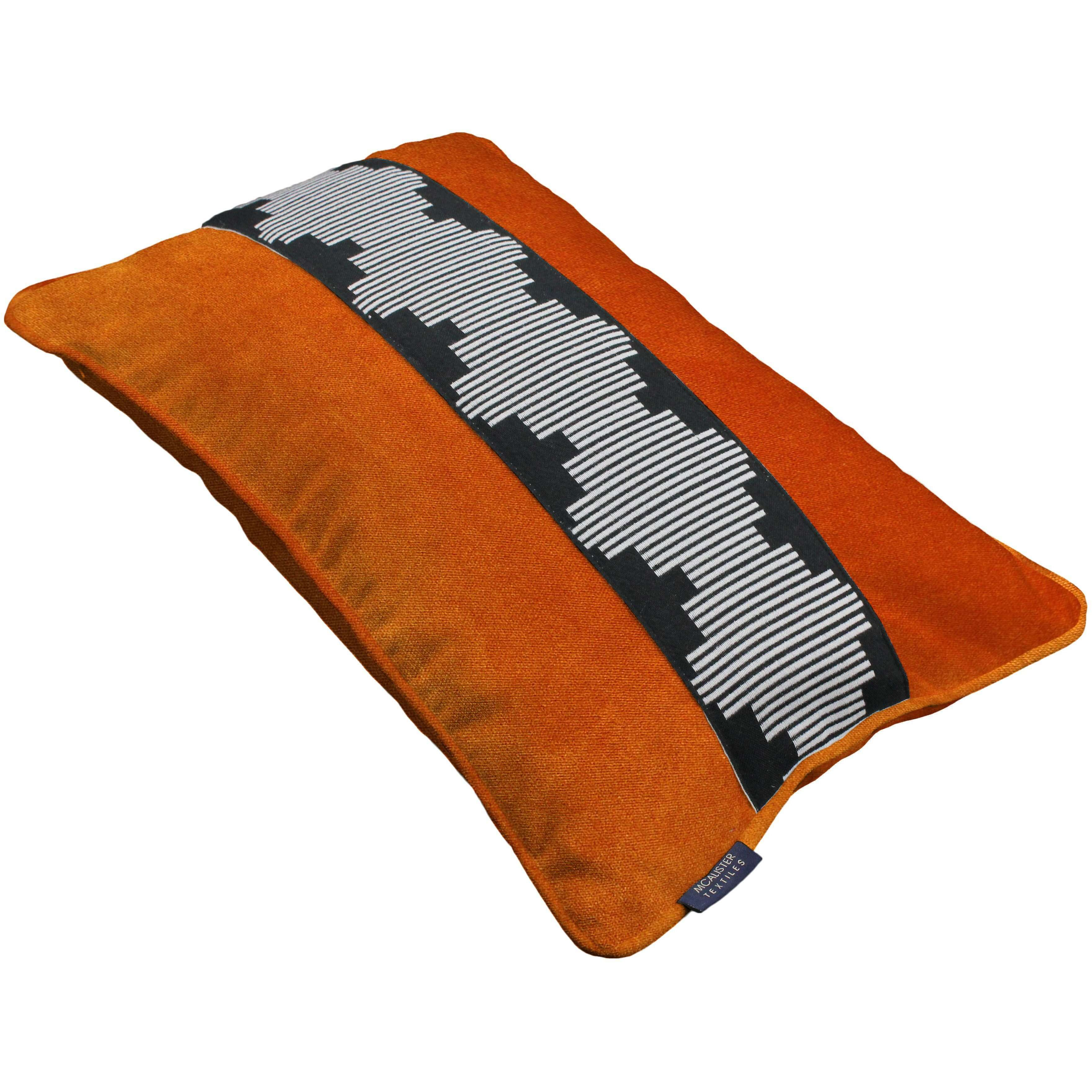 McAlister Textiles Maya Striped Burnt Orange Velvet Pillow Pillow