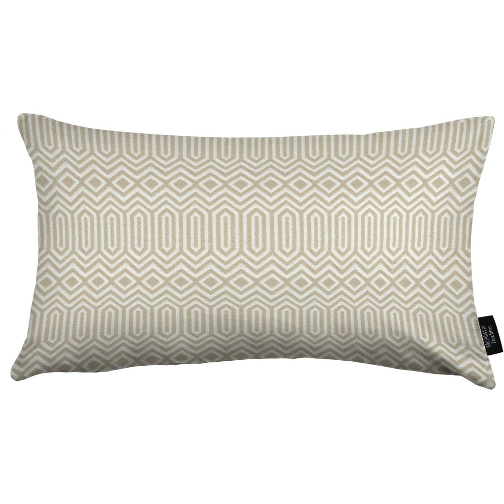 McAlister Textiles Colorado Geometric Boudoir Pillow - Taupe-Cushions and Covers-