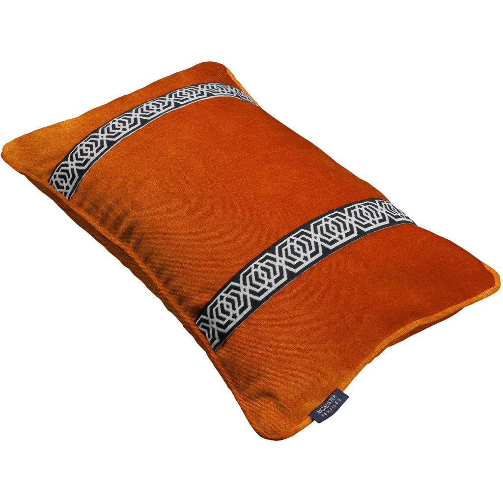 McAlister Textiles Coba Striped Burnt Orange Velvet Cushion Cushions and Covers