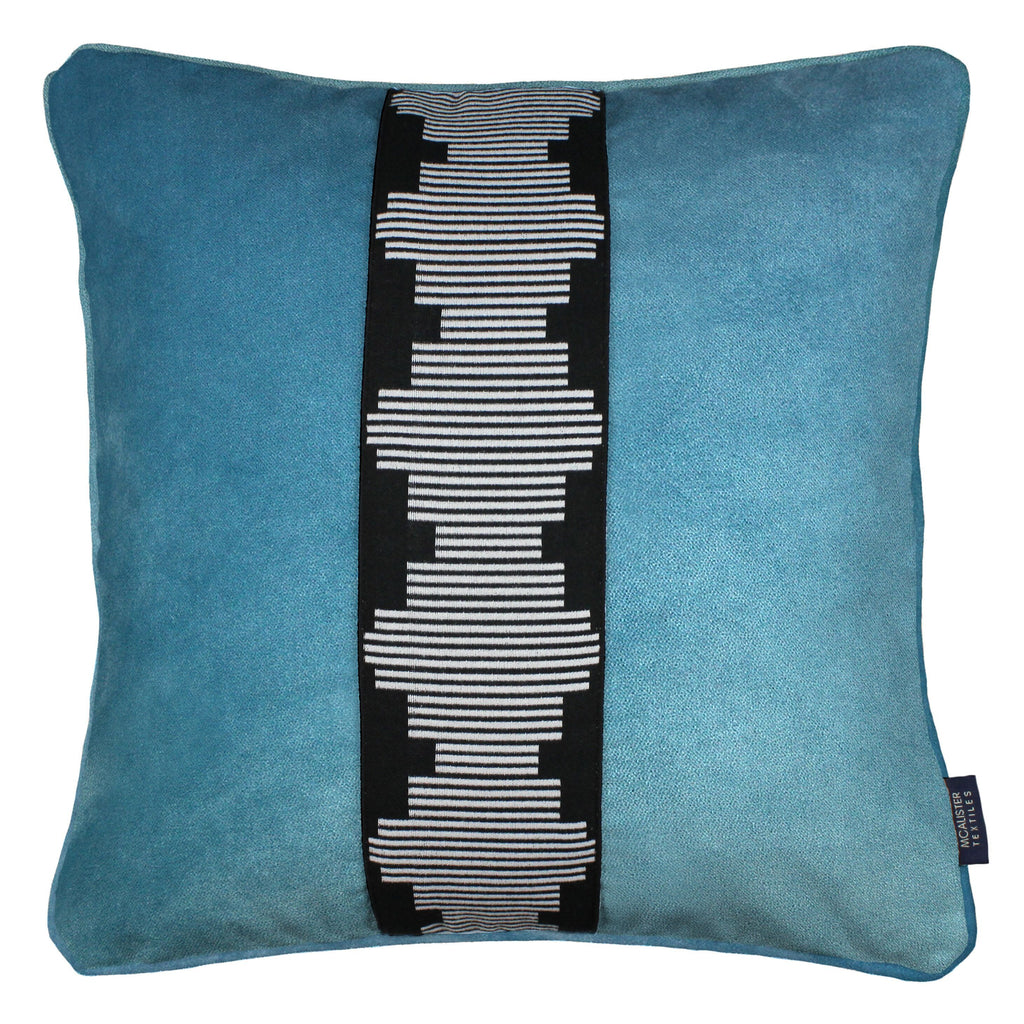 McAlister Textiles Maya Striped Duck Egg Blue Velvet Cushion Cushions and Covers Polyester Filler 43cm x 43cm
