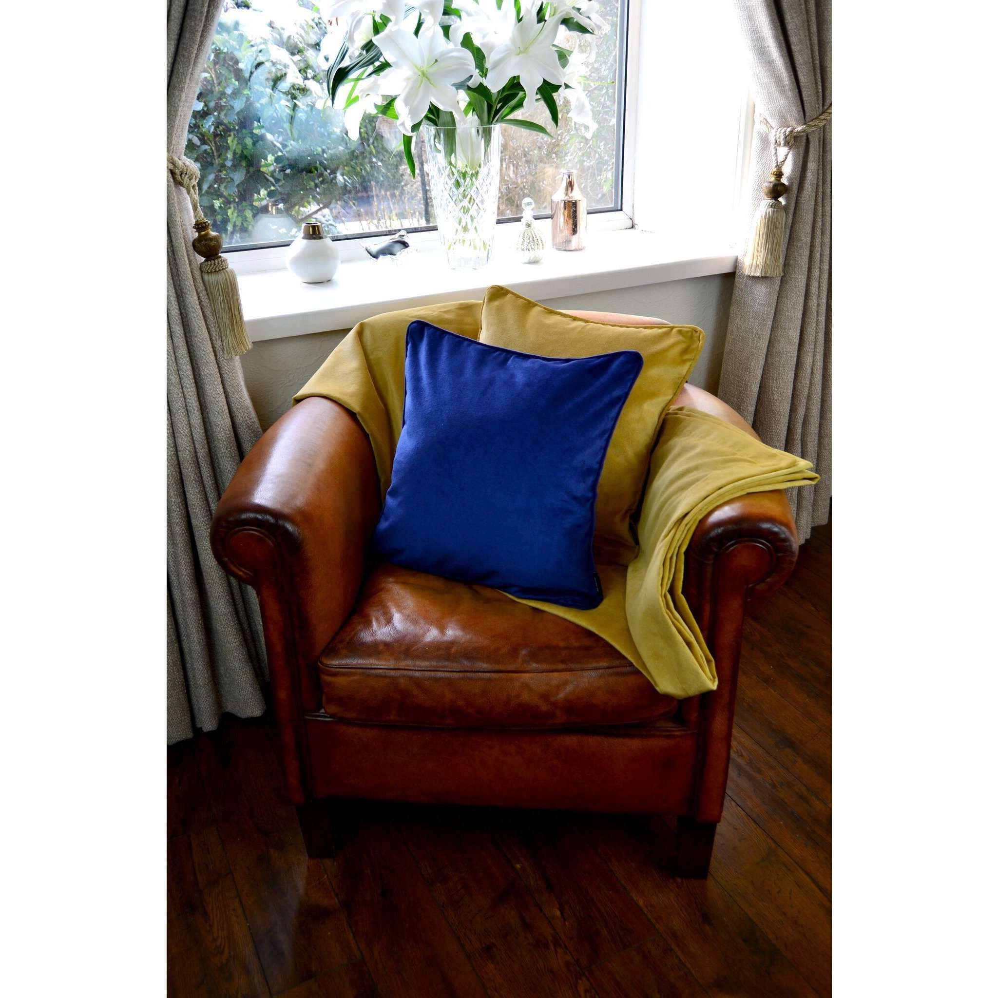 McAlister Textiles Matt Ochre Yellow Velvet Cushion Cushions and Covers