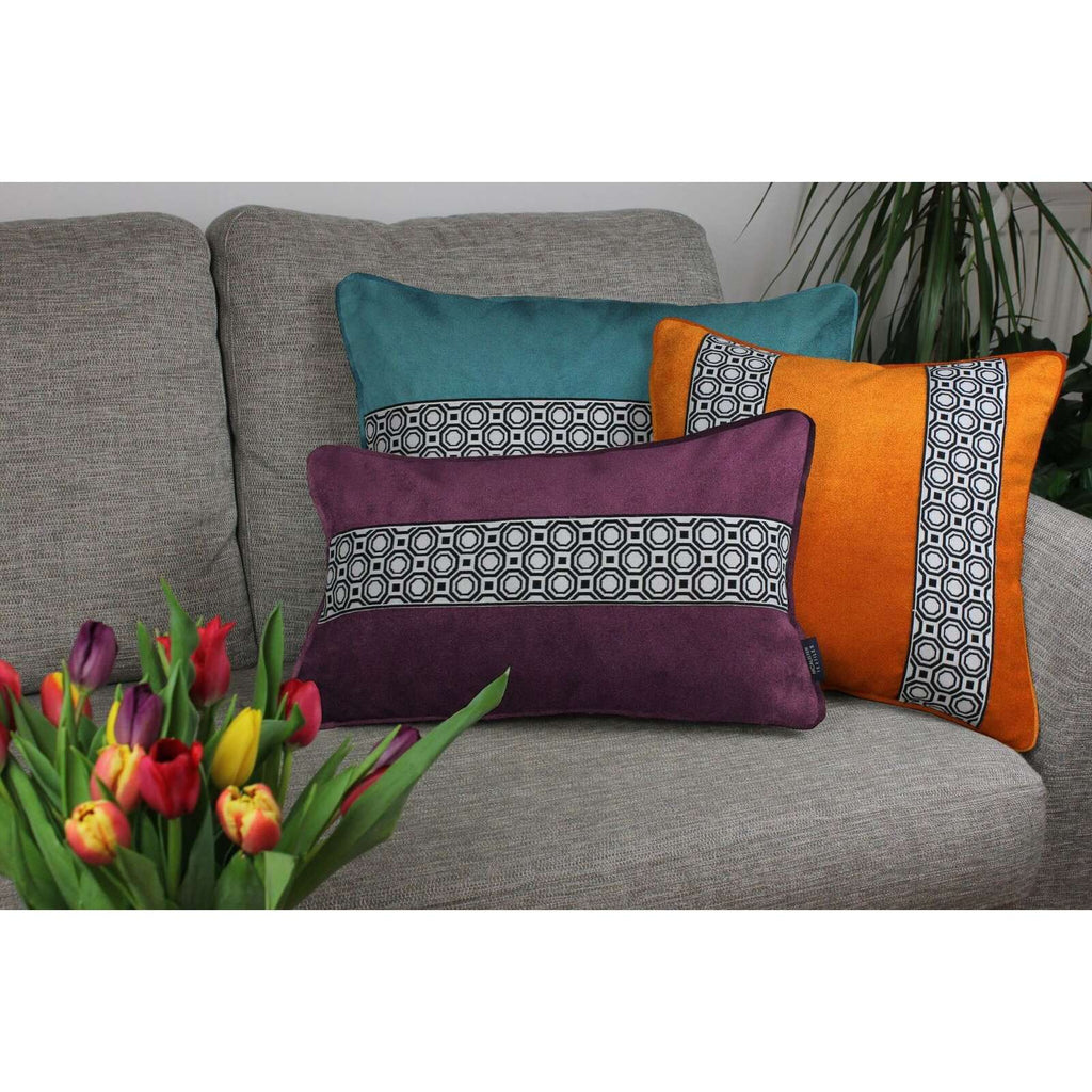 McAlister Textiles Cancun Striped Aubergine Purple Velvet Cushion Cushions and Covers