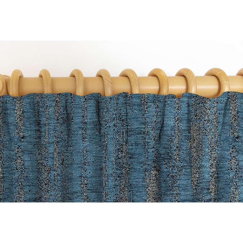 McAlister Textiles Textured Chenille Denim Blue Curtains Tailored Curtains