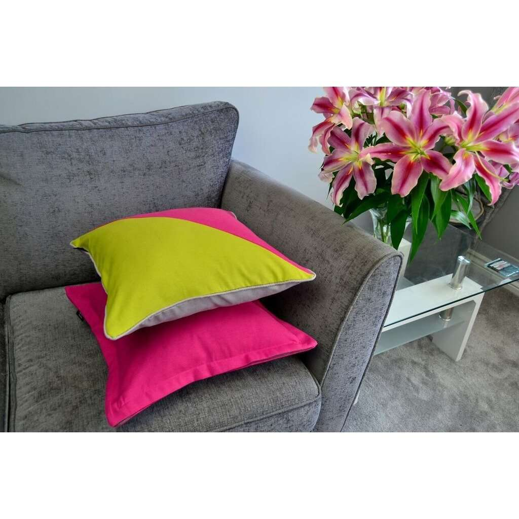 McAlister Textiles Panama Accent Fuchsia Pink + Grey Cushion Cushions and Covers