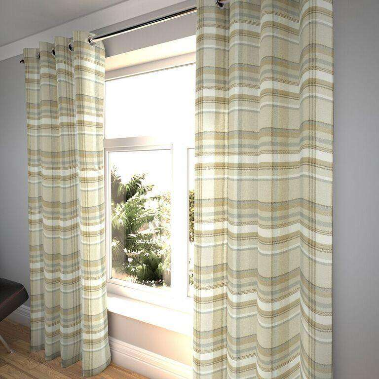 "McAlister Textiles Heritage Tartan Check Beige Cream Curtains Tailored Curtains 116cm(w) x 182cm(d) (46"" x 72"")"