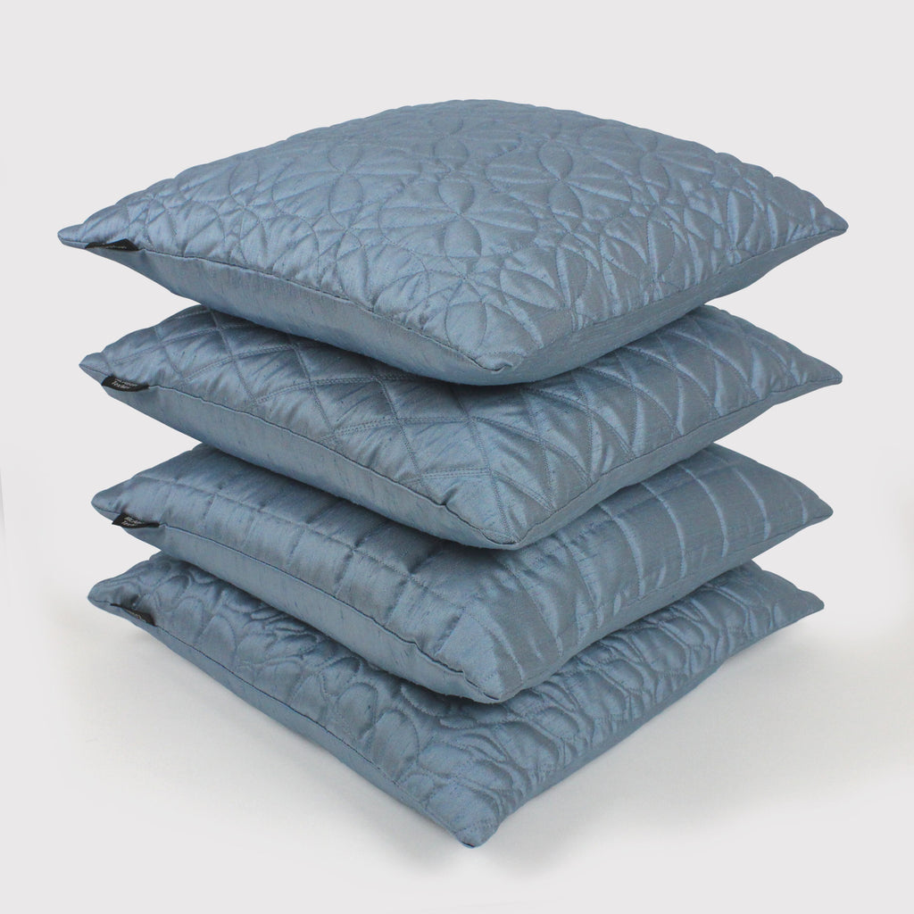 McAlister Textiles Rocco Square Quilted Wedgewood Blue Silk Cushion Cushions and Covers