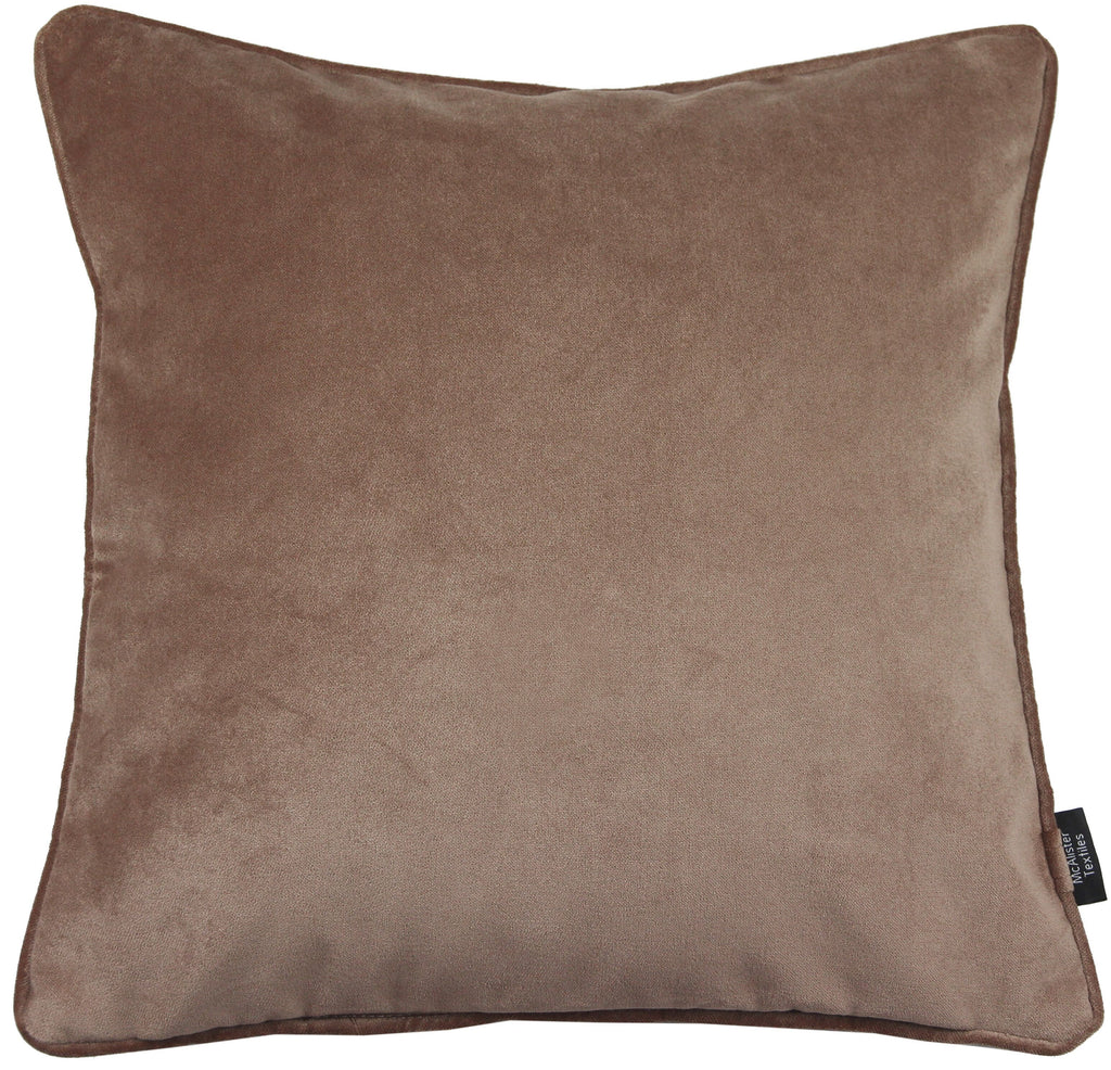 McAlister Textiles Matt Mocha Brown Velvet 43cm x 43cm Cushion Sets Cushions and Covers