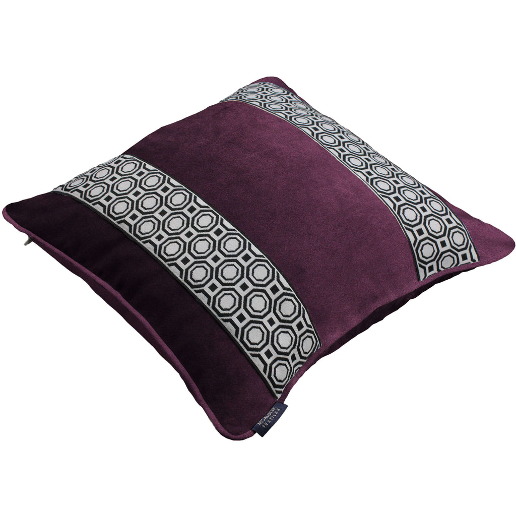 McAlister Textiles Cancun Striped Aubergine Purple Velvet Pillow Pillow