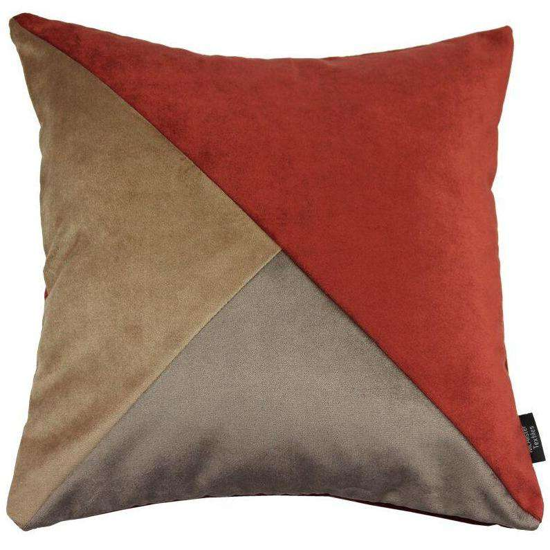 McAlister Textiles Diagonal Patchwork Velvet Brown, Gold + Red Cushion Cushions and Covers Cover Only 43cm x 43cm