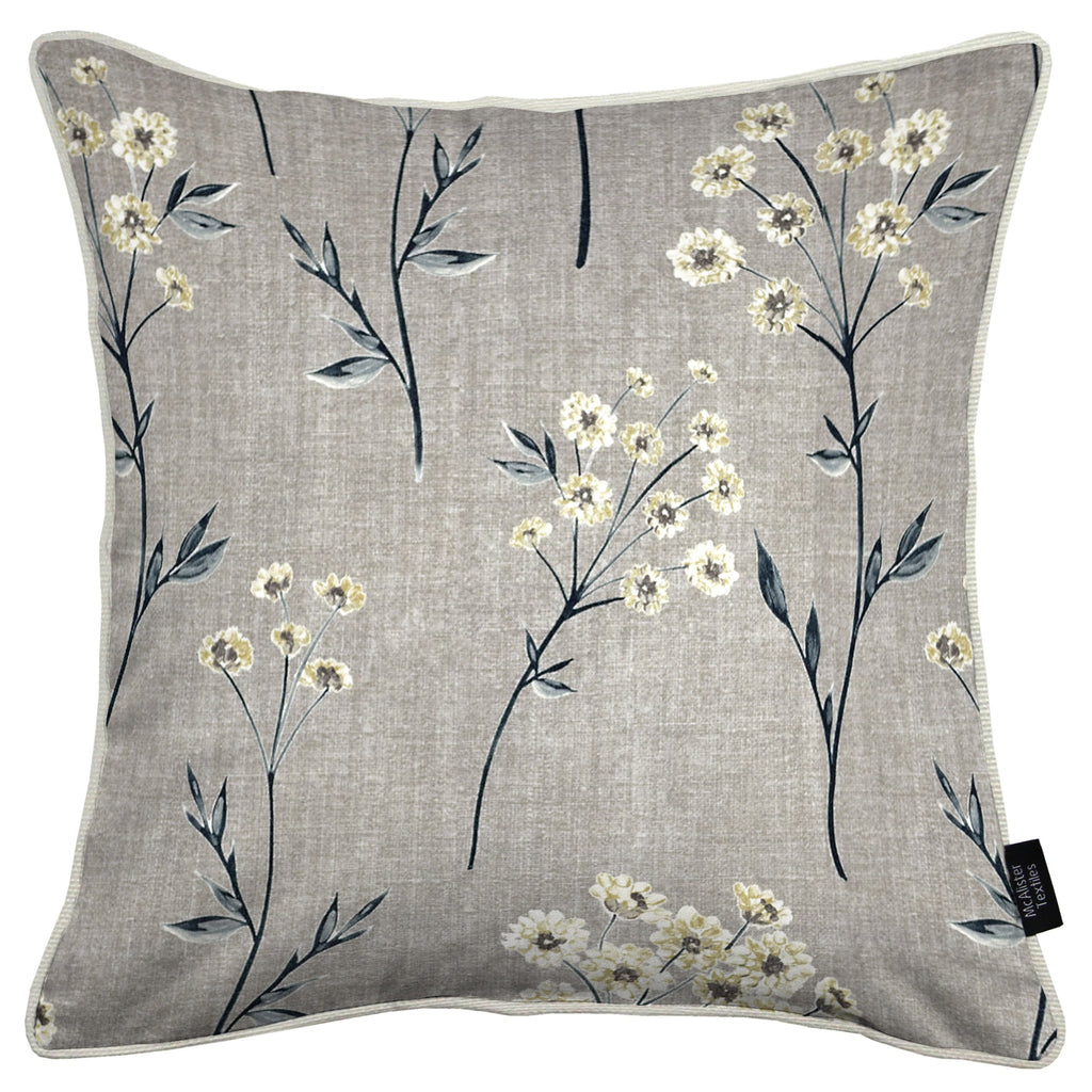 McAlister Textiles Meadow Soft Grey Floral Cotton Print Pillow Pillow Cover Only 43cm x 43cm