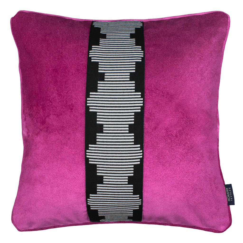 McAlister Textiles Maya Striped Fuchsia Pink Velvet Cushion Cushions and Covers Polyester Filler 43cm x 43cm